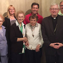 Eight Catholics from Antigo were part of the Green Bay Diocese's pilgrimage to the World Meeting of Families in Philadelphia last month. Pictured with Bishop David Ricken at Daylesford Abbey in Paoli, Penn., are, from back row left: Fr. Charles Hoffmann, Laurel and Tom Bradley, Brad and Lynne Henricks; front row, Srs. Dolores Demulling, Adele Demulling and Jean Bricco. The pilgrimage was sponsored by The Compass. (Submitted Photo | Special To The Compass)