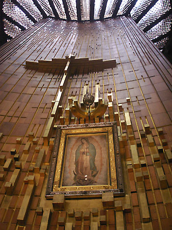 The Shrine of Our Lady of Guadalupe in Mexico City includes the original tilma or cloak of St. Juan Diego, prominently displayed on a wall for all pilgrims to see. (Submitted photo)