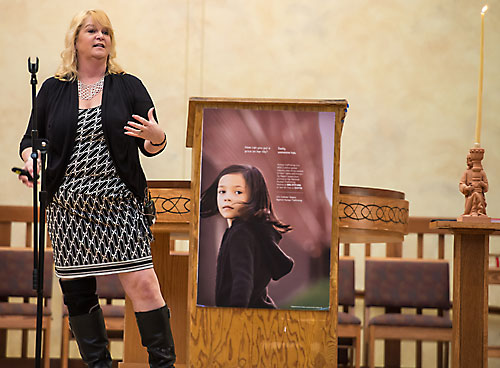During her address at Jan. 16 at St. John the Baptist Church in Howard, Theresa Flores told some 400 people that her experience as a victim of human trafficking began after she was drugged, sexually abused and blackmailed at age 15. (Sam Lucero | The Compass)